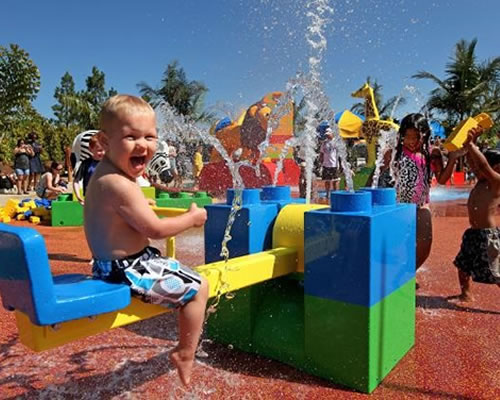 kid at water park